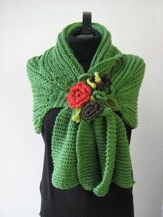 Knitting green shawl  poncho by Suzann61 on Etsy, $70.00