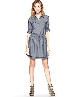 Chambray roll-sleeve shirt dress   by Gap