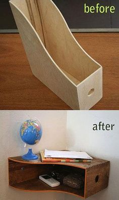 Transform a File Holder Into a Curvy Wall Shelf