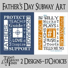 Today's Fabulous Finds: Father's Day Subway Art: 2 Designs--17 Color Choices!