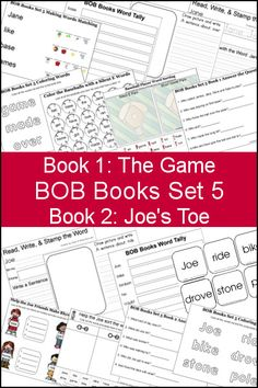 Free Early Reading Printables BOB Books Set 5 Books 1 & 2 from 3 Dinosaurs