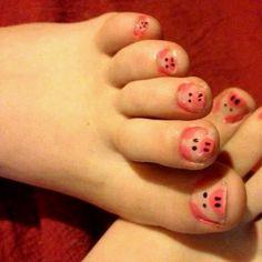 Pig painted toenails