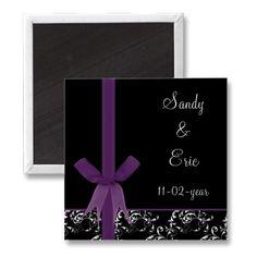 #savethedate #magnets #purple #wedding #damask #ribbon