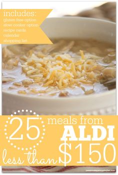 25 Meals From Aldi For Less Than $150 (+ Gluten Free & Slow Cooker Options!)
