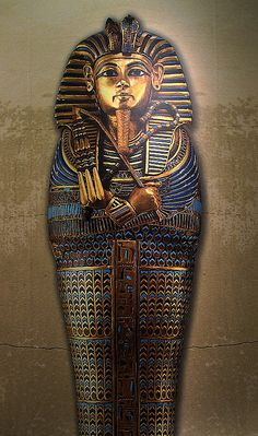 sarcophagus - to get to Tut's mummy, they had to open three nested golden shrines and then four nested sarcophagus(s)