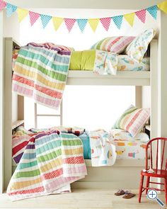 bunk beds, color, buntings, quilts, kid rooms, rainbow, stripe, bedroom, girl rooms