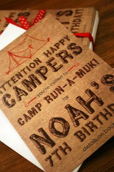 Camping Theme Birthday Party Invite