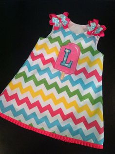 Pastel Chevron jumper with initial POPSICLE applique jumper for summer birthday party!