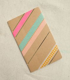 washi tape on a kraft paper notebook