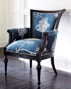 Crewel Blue Chair - Neiman Marcus