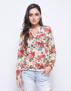floral print all over and a mandarin collar with v-neck style.