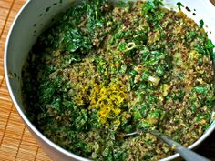 Quinoa Salad with Lemon-Cream Spinach