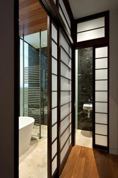 shoji screens to bathroom