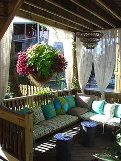 condo deck ideas, private deck, shower curtains, outdoor curtains for deck, porch, deck apartment outdoor, patio ideas, condo patio, back patio deck