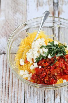 Caprese Spaghetti Squash Recipe with Roasted Tomatoes {Vegetarian} | cookincanuck.com #vegetarian by CookinCanuck, via Flickr