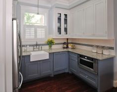 white/grey and farm sink (but i wouldn't undermount)--traditional kitchen by Carla Aston | Interior Designer
