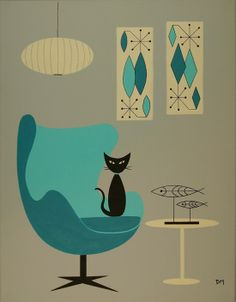 The teal adds subtle pop of color against the muted taupe. Mid Century Modern Art