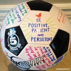 Love to have the girls write their thank you's on a ball instead of card for our coach.