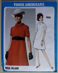 1060's Vogue Americana  Bill Blass  Misses Dress 2056 by DotisSpot, $24.95