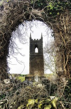 Tullylish Old Church Tower (County Down, Northern Ireland) through the ruin of the gable wall...