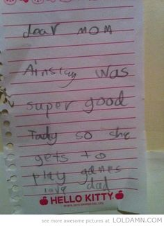 Forging notes like a boss…funny kid notes