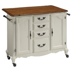 Rolling kitchen cart with 2 cabinets, 4 storage drawers, and a drop-leaf breakfast bar.