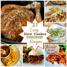 Great round-up of 21 Easy Slow Cooker Chicken Recipes via Spoonful