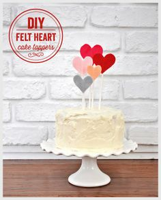 DIY Felt Heart Cake Toppers for Valentine's Day