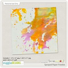 Quality DigiScrap Freebies: Sprayed Paper freebie from Ziggle Designs