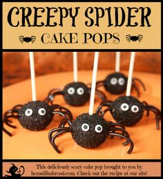 Creepy, Crawly, Delicious Spider Cake Pops. Enjoy biting into these delicious spider treats this Halloween! @homelifeabroad.com #halloween #cakepop #delicious #sweets