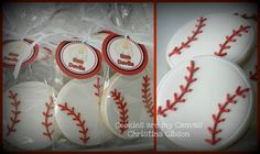 Baseball Cookie Favors @Mary Ruck would you be able to make these sugar cookies as favors?