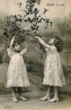 Vintage Postcard ~ Sweet little Girls