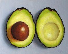 Avocado Contemporary Still Life Oil Painting by GreenlightGoods, $100.00 food still life