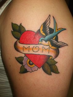 Heart #tattoo with swallow, flowers and lettering - #tattoos by Joey Cox