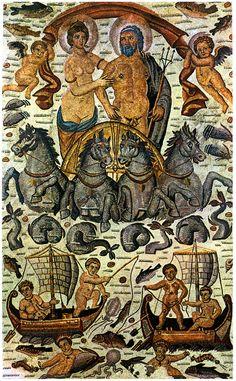 Roman #Mosaic  --  Triumph of Amphitrite & Neptune (Poseidon)  --  The Louvre, Paris