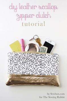 DIY: leather scallop zipper clutch