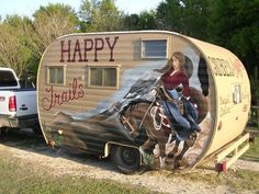 cowgirls, camp trailers, happy trails, colorful homes, travel trailers, happi trail, camping trailers, fly fishing, vintag camper