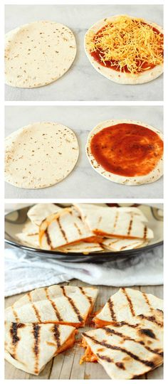 A kid-favorite combines pizza with a quesadilla from the grill!