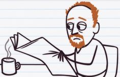 Louis CK cartoon from Comedians in Cars getting Coffee