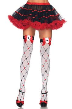 Card Suit Thigh High Stockings - Pure Costumes diamonds, thighs, queen of hearts, suit thigh, thigh highs, suits, card suit, diamond card, cards