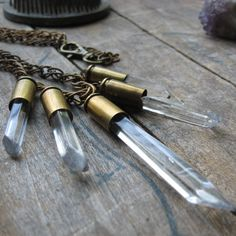 crystal and bullet casing brass necklace
