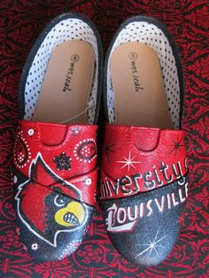 University of Louisville Shoes by PaintedDreamsbyDS on Etsy.  I want!!!!