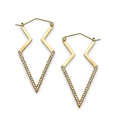 Pave Modern Arrowhead Hoop Earrings // C. Wonder