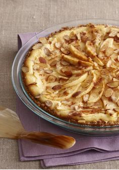 Fall Apple Bavarian Cheesecake — Thrill cheesecake and apple cake fans alike with this glorious fall dessert. No springform pan required; the recipe is made in a pie plate!