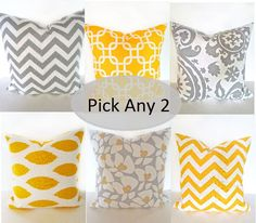THROW PILLOWS  SET of 2 Gray Yellow 16x16 Decorative Throw Pillows 16 x 16 Throw Pillow Covers pillow shops. $29.95, via Etsy.