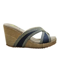 Take a look at this Navy Lanelines Wedge Slide by VOLATILE on #zulily today!