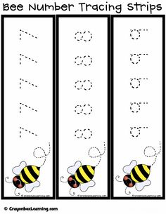 *FREE* Bee Number Tracing Strips from Crayonbox Learning.