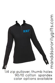 $36.98 Essential Greek Clothing, Kappa Kappa Gamma Quarter Zip Pullovers with Greek Letters available in multiple colors. Our Greek pullover is made of 90% cotton and 10% spandex allowing ultimate comfort, flexibility. Features thumb holes!! Great for layering. Wear to the gym or class.