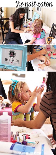 Cute party for girls Salon Party Station via lilblueboo.com #americangirl #party #diy