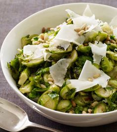 Sautéed Brussels sprouts with parmesan and pine nuts.